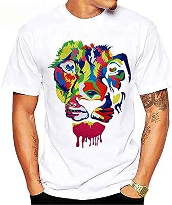 Hoodieswj Unisex Camiseta Blanca Cabeza del Tigre Impreso Minimalista Casual Camisetas De Manga Corta Hombres Mujeres,B,XXL: Amazon.es: Hogar
