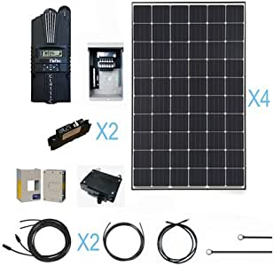 Renogy 1200 Watt Monocrystalline Solar Cabin Kit for Off-Grid Solar System with 4 Pcs of 300W Panel and Midnite MPPT Controller
