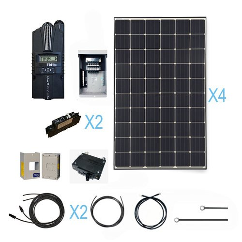 Renogy 3600 Watt Monocrystalline Solar Cabin Kit for Off-Grid Solar System with 12 Pcs of 300W Panel and Midnite MPPT Controller