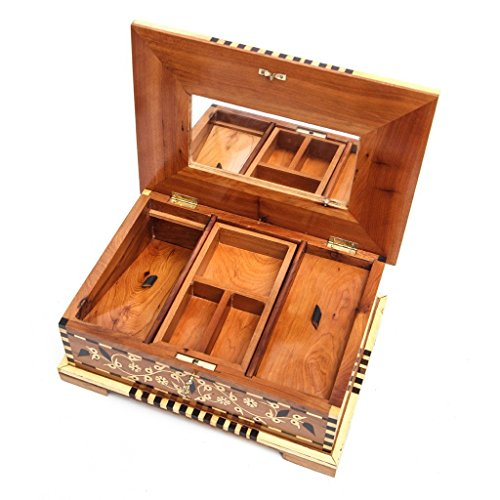Two Layer Thuya Wood Jewelry Box with Mirror by Atlas Showroom