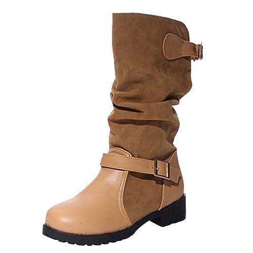3973a7d606512 FAMILIZO Botas Mujer Zapatos De Hebilla Extra Ancha con Hebilla para Mujer  para Mujer Zapatos Planos De Tacón Medio con Bota Otoño Botas Mujer  Invierno  ...