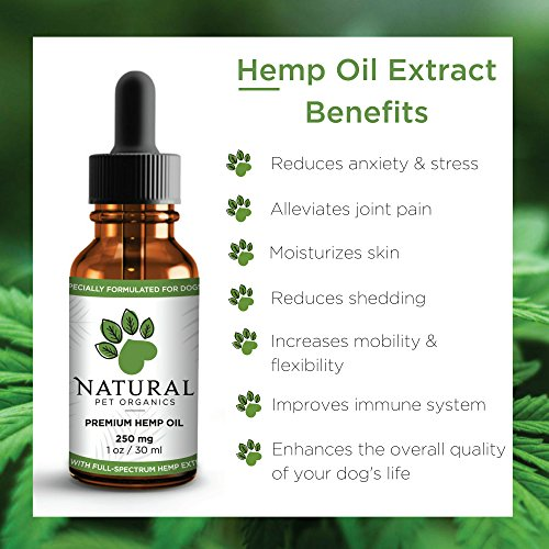 Organic Hemp Oil For Dogs - 100% Natural Full Spectrum Hemp Extract for Dog Anxiety Relief, Seizures, Arthritis, Hip & Joint Pain, Epilepsy, Cancer, Stress & Calming - Add to Pet Food & Treats - 250mg