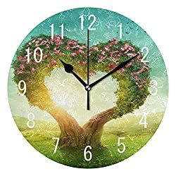 Beautiful Heart Shaped Tree in The Meadow Round Wood Wall Clock for Home Decor Living Room Kitchen Bedroom Office School