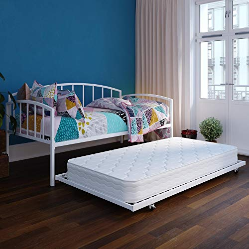 DHP 4406139SET Ava Metal Trundle Set, White Daybed,