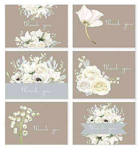 Elegant Wedding Thank You Cards - Wedding Thank You Cards, Bridal Shower, or Any Occasion White Floral Thank You Card Assortment - 36 Note Card Boxed Set, Blank Inside with 38 White Envelopes - Made in the USA