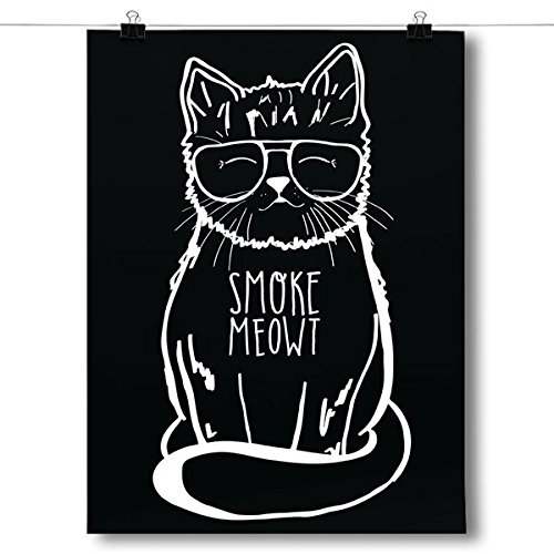Inspired Posters Smoke Meowt - Stoner Cat Poster Size 8x10