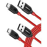 [2-Pack] Anker PowerLine+ USB C to USB A Fast Charging Cable, for Samsung Galaxy Note 8 / S8 / S8+ / S9, MacBook, Sony XZ, LG V20 / G5 / G6, HTC 10, Xiaomi 5 and More (6ft) (Red)