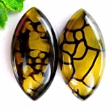 Gozebra(TM) 2Pcs Black & Yellow Dragon Veins Agate Marquise Cab Cabochon 40206mm HH617