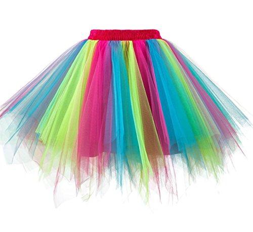 Dressever Vintage 1950s Short Tulle Petticoat Ballet Bubble Tutu Rainbow Small/Medium]()