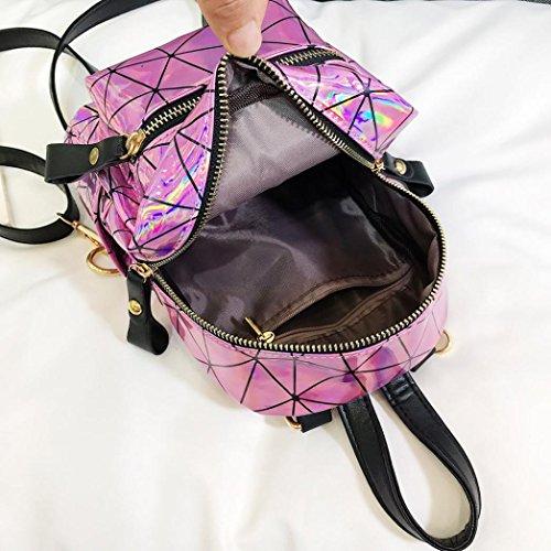 Mode étudiant Rose femmes à messager laser JIANGfu mode à sac de cartable Fille Femme à sac voyage Cabas Sac Femme sac épissage sac Main main dos bandoulière Sac xRpvqAPx