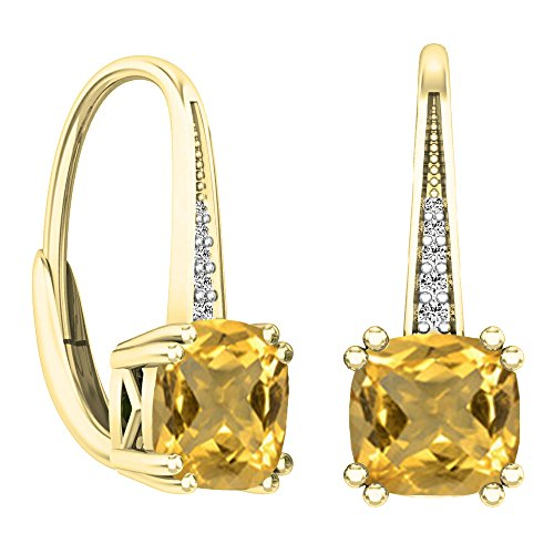 Diamond Dangle Fancy (14K Yellow Gold Cushion Cut Citrine & Round Cut White Diamond Ladies Dangling Drop Earrings)