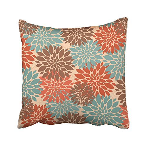 Brown Peony - Accrocn Throw Pillow Covers Unique Elegant Orange Teal Cream Brown Peonies Print Pattern Popular Cushion Decorative Pillowcases Polyester 18 x 18 Inch Square Pillowcase Hidden Zipper