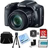 Canon PowerShot SX530 HS 16MP 50x Opt Zoom Full HD Digital Camera Black Deluxe Bundle w/32GB SD Card, 1150mah Battery, Compact Deluxe Gadget Bag, 5 Flexible Tabletop Tripod, Hispeed Card Reader&More