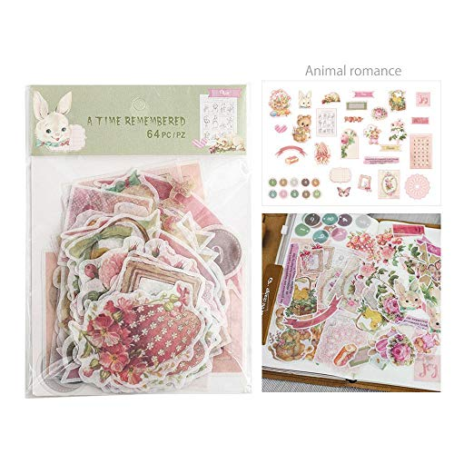 MOGOI Note Sticker, 64 Pcs Scrapbooking Supplies Embellishments Die-Cut Pack,Ephemera Card Stock Notebooks, Greeting Card, Photo Frame, Cup, -
