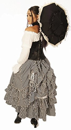 Full Length ''Persephone'' Bustle Skirt Black & White Parlour Stripes by Dress Like A Pirate