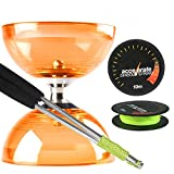 Orange Cyclone Quartz 2 Diabolo Set w/ Aluminium Diablo Sticks & Accelerate Diabolo String