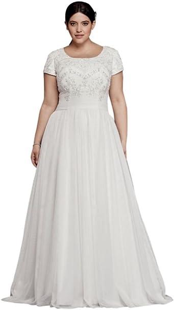 David\'s Bridal Modest Short Sleeve Plus Size A-Line Wedding ...