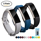 Fitbit Alta HR and Alta Bands, Digitek Strap Bands for Fitbit, Fashion Silicone Wristband Accessory Newest Watchbands with Adjustable Metal Buckle Clasp - Colorful Band for Sport Men Women and Girl, 3-Pack (Black+Dark Blue+Grey)