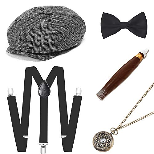 BABEYOND 1920s Mens Gatsby Gangster Costume Accessories Set Manhattan Fedora Hat Suspenders (Set-10)