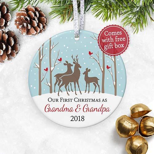 - First Christmas Grandma & Grandpa 2018, New Nana Papa Grandparents Christmas Ornament, Deer Family Pregnancy Reveal Keepsake - 3