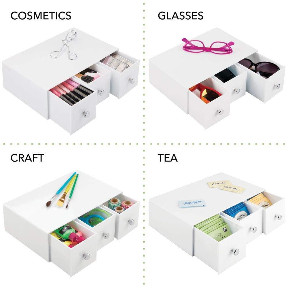 organiseur de bureau avec 3 grands tiroirs tournants transparent trieur de bureau pratique pour un espace de travail en ordre mDesign boite de rangement a tiroir