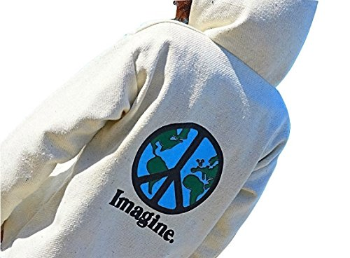 Galaxy Reborn Baja Hoodie Imagine Peace Sign in Natural Mexican Drug Rug Pullover Poncho (Peace Sign Sweater)
