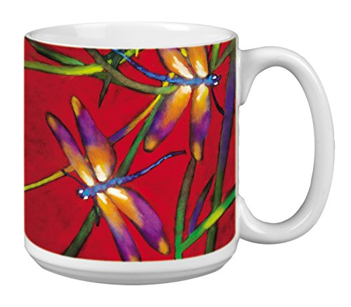 Dragonflies Extra Large Mug, 20-Ounce Jumbo Ceramic Coffee Cup, Deux Libuelles - Gift for Dragonfly and Nature Lovers (XM29502) Tree-Free Greetings ()