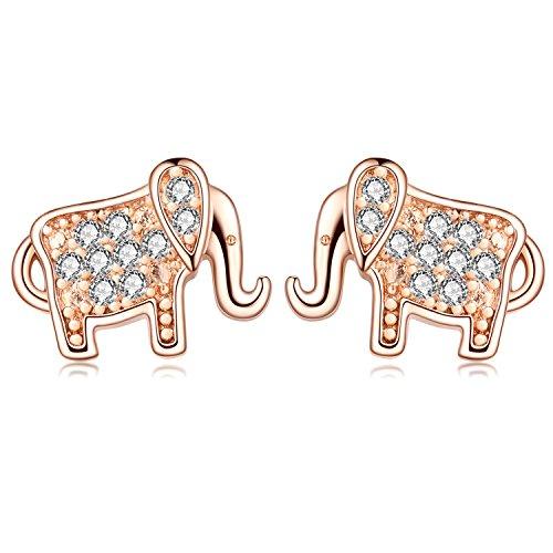 18G Stainless Steel Cute Elephant Cubic Zirconia Cartilage Helix Piercings Stud Earring Women Girls(Rose Gold)