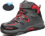 AShion Kids Hiking Shoes Walking Boots Antiskid Steel Buckle Sole Outdoor Climbing Sneaker