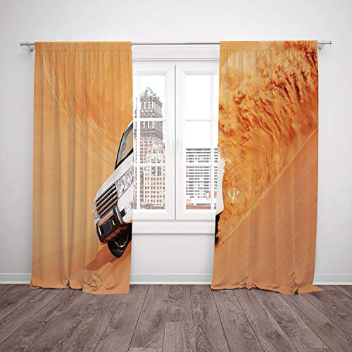 Satin Window Drapes Kitchen Curtains,Desert Decor,Suv Truck Pick Up Big Car with Huge Wheels Driving through the Sand Hills,White Yellow,Living Room Bedroom Kitchen Cafe Window Drapes 2 Panel Set