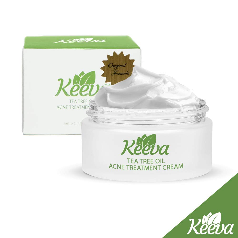 Keeva Organics Acne Treatment Cream With Secret TEA TREE OIL Formula - Perfect For Acne Scar Removal, Fighting Breakouts, Spots, Cystic Acne - See Results in Days Without Dry Skin (1oz) by Keeva Organics