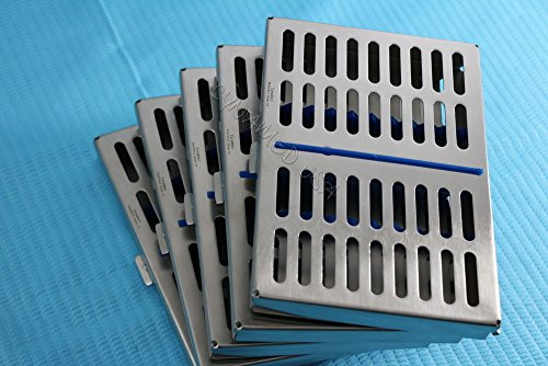 (GERMAN STEEL SET OF 5 DENTAL AUTOCLAVE STERILIZATION CASSETTE RACK BOX TRAY FOR 10 INSTRUMENT)