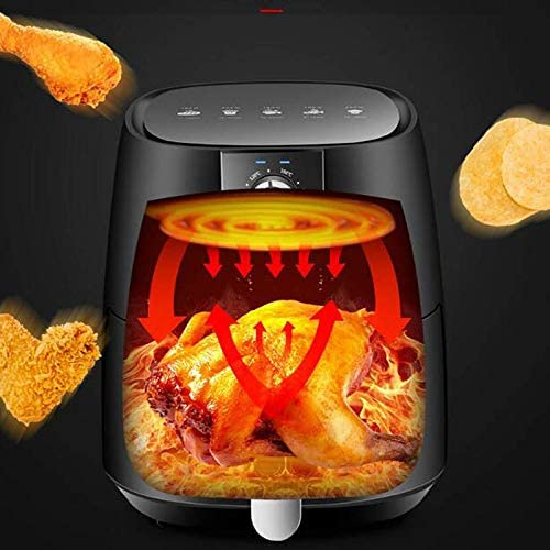 weiwei Friteuse à air 5L friteuse à air Chaud électrique avec contrôle de la température et Bouton de minuterie avec Panier à friture antiadhésif Facile à Nettoyer 1350W Noir
