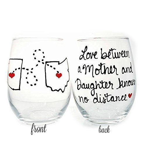Mom, Personalized Long Distance State Wine Glass Gift with quote, All States, Countries and Provinces, Hand Painted Stemmed or Stemless Wine Glass