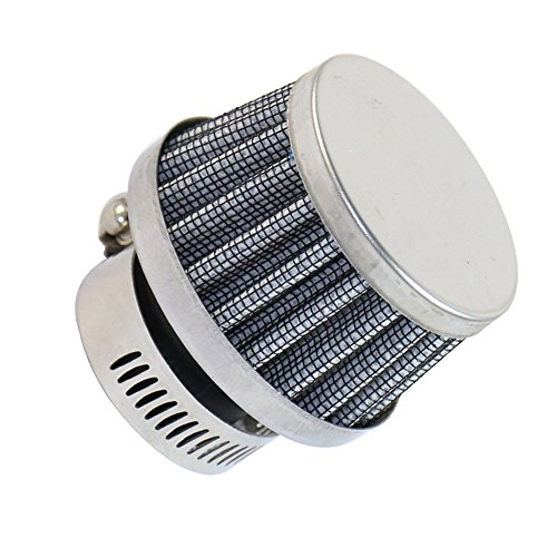 BUSIDN Mini Cone Cold Air Intake Filter Breather 60mm with Hose Clamp Universal Chrome Motorcycle