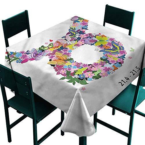 DONEECKL Washable Tablecloth Taurus Bull Horns Floral Wreath Table Decoration W63 xL63