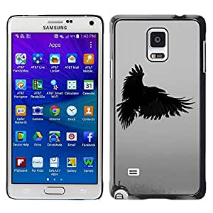 Design for Girls Plastic Cover Case FOR Samsung Galaxy Note 4 Raven Death Deep Writing Nature Bird OBBA