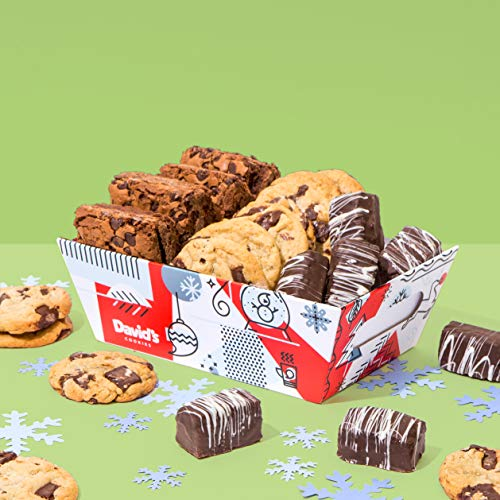 David's Cookies – Freshly Baked Goods In Holiday Gift Basket – Includes Brownies, Chocolate Chunk Cookies and Chocolate- Covered Brownie Bites – Delicious Gift Idea