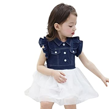0250e3c595 Amazon.com  Toddler Baby Girls Kids Party Princess Dresses Cuekondy Summer Denim  Patchwork Tulle Tutu Sundress Skirt Outfits (3T