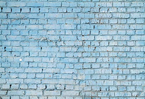 (SZZWY Polyester 5x3ft Rustic Faded Blue Brick Wall Photography Background Grunge Weathered Brick Wall Backdrop Children Adult Pets Artistic Portrait Shoot Studio Props)