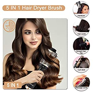 Aokebeey Hair Dryer Brush, Upgrade 5 in 1 Hot Air Styler and Volumizer, Negative Ionic Curler Straightening Comb, 3 Temperatures and 3 Speeds, Reduce Frizz and Static Suitable for All Hair Types