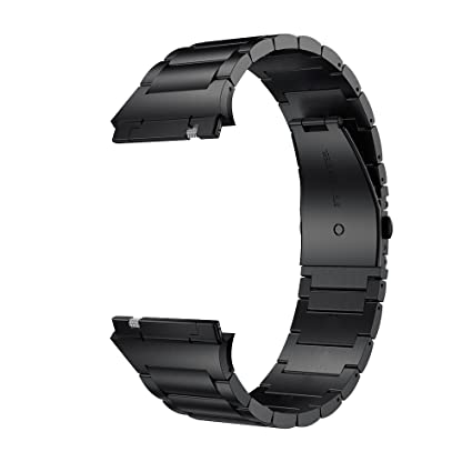 LDFAS Metal Band Compatible for Fitbit Ionic Band, Solid Stainless Steel Accessory Metal Watch Strap Compatible for Fitbit Ionic Smartwatch, Black