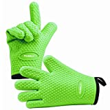 PASBUY P7089G A Pair Silicone Oven Mitts with Cotton Lining, Heat Resistant Kitchen Potholder Gloves for Oven, Outdoor BBQ Grill, Fireplace Camping (Green) For Sale