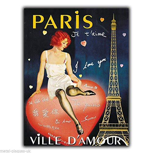 Great Tin Sign Paris Je T'Aime Love Ville D'Amour Art Picture Aluminum Metal Sign Wall Decoration 12x8 INCH