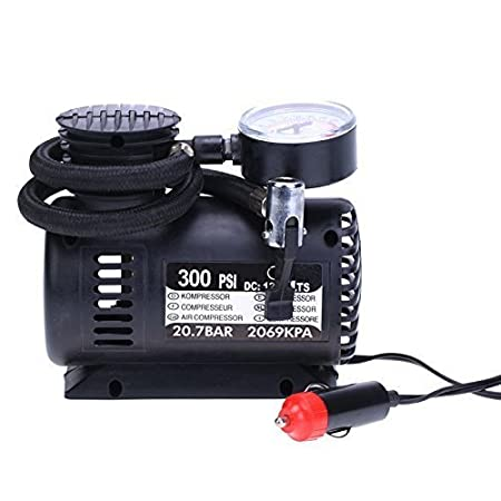 FOXGLOW Portable Electric Mini DC 12V Air Compressor Pump for Car and Bike Tyre with Inflator (Black)