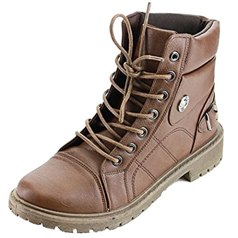 Refresh Footwear Women's Lace Up Rubber Sole Combat Boot (10 B(M) US, Brown) - Footwear Combat Boots