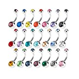15 PCS Assorted Colors Belly Button Ring Surgical Steel Hypoallergenic Lead and Nickel Free,14 Gauge Navel Piercing Body Jewelry (15 PCS:Steel Ball)