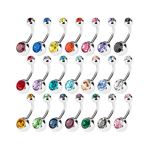 15 PCS Assorted Colors Belly Button Ring Surgical Steel Hypoallergenic Lead and Nickel Free,14 Gauge Navel Piercing Body Jewelry (15 PCS:Steel ()