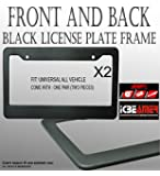 2 pcs JDM Racing style Plastic License Plate Frame Black Plain Front and Back US