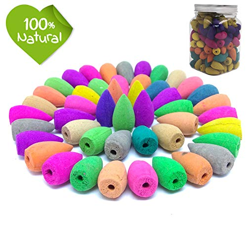 140 Pcs Backflow Incense Cones 7 Mixed Natural Scents- Lavender Lemon Osmanthus Lily Green Tea Rose Jasmine,Incense Cones Perfect for in Home Or Office